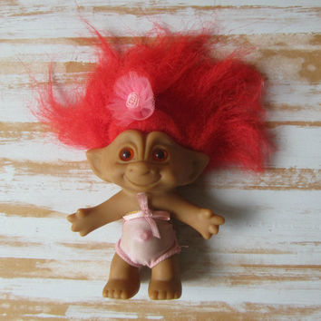 "Vintage Treasure Jewel Troll Doll Red Hair Red Jewel in Belly 4""T Girl Troll Doll Pink Outfit and Bow Ace Novelty"
