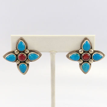 Turquoise and Spiny Oyster Earrings