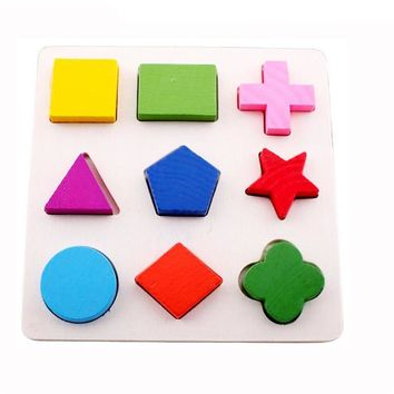 Fun Wooden 3D Match Geometry Blocks Kids Non-toxic Paints Montessori Early Learning Toys Random Delivery W20