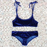 Sexy Brazilian Bikini 2017 Blue Velvet Swimwear Women Swimsuit Push up Biquini Halter Bikinis Set Bathing Suit Maillot De Bain