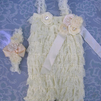 Children Clothing for flower girls - Cream color baby lace romper with cream headband