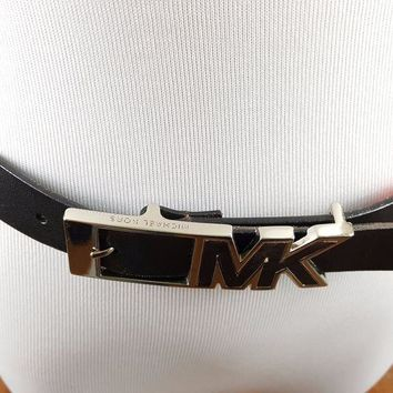 DCCK8TS Michael Kors Black Leather Belt with MK Logo Buckle - 37' XL