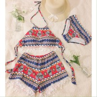👙NEW Set of 3 lace bikinis swimsuit brocade style