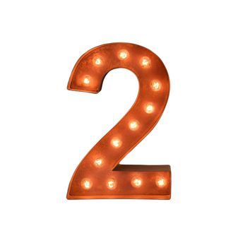 "12"" Number 2 (Two) Sign Vintage Marquee Lights"