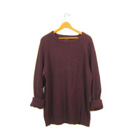 Slouchy Dark Purple Sweater Basic Pullover Loose Knit Boyfriend Raglan Plain Simple Long Sleeve Oversize Hipster Vintage XL Extra Large