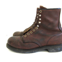 vintage oiled brown leather Red Wing work boots. men's size 10
