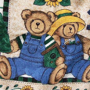 Bears and Sunflowers Crochet Towel Toppers Button Top Dish Towels Bear Theme Kitchen Country Kitchen Hand Towels Hanging Towel