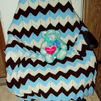 Crocheted Ripple Baby Blanket Blue Brown and White by amydscrochet