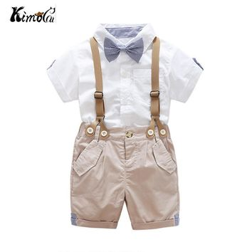 Kimocat Summer Toddler Baby Boys Clothing Sets Short Sleeve Bow Tie Shirt+Suspenders Shorts Pants Formal Gentleman Suits