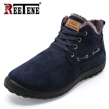 REETENE Winter Boots Men Warm Snow Boots Men Winter Boots Work Shoes Men Winter Ankle Boots Lovers Casual Botas Hombre 37-49