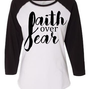 Faith Over Fear Women's Baseball Jersey Christian Shirt