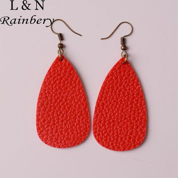 Rainbery 2017 New Teardrop Leather Earrings Antique Looking Various MultiColors Leather Dangle Earrings JE0567