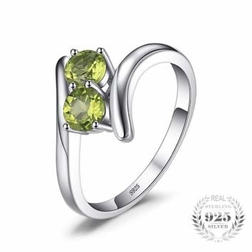Natural Peridot 2 Gemstones Ring 925 Sterling Silver