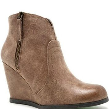 Noelle Wedge Booties - Taupe