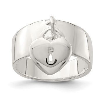 925 Sterling Silver Dangle Lock Ring
