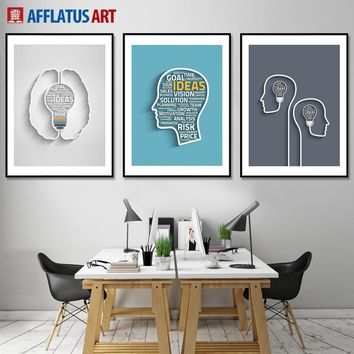 Figure Brain Contour Wall Art Canvas Painting Nordic Posters And Prints Wall Pictures For Living Room Kids Room Office Decor