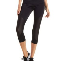 Black Mesh Cut-Out Active Capri Leggings by Charlotte Russe