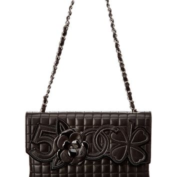 Chanel Chanel Black Quilted Lambskin Leather Camellia 2 Bag | Bluefly.Com