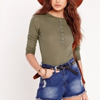 Missguided - Popper Front Top Khaki
