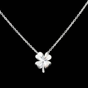 Silver or gold four leaves clover necklace
