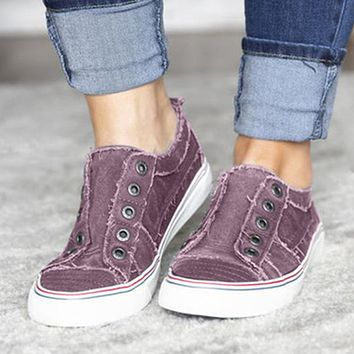 New fashion flat casual denim canvas two-color stitching free sports single shoes Purple