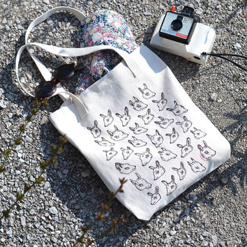 Animal Heads Cotton Canvas Tote