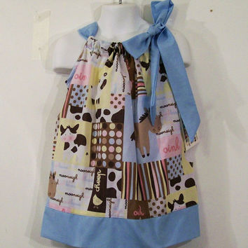 Girls Pillowcase Dress-Animals with Blue-Made in the Usa----#114--