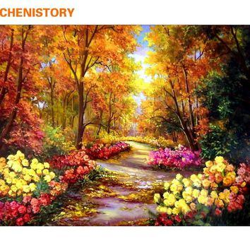 CHENISTORY Autumn Forest DIY Painting By Numbers Landscape Digital Calligraphy Painting Modern Wall Art For Home Decor 40x50cm