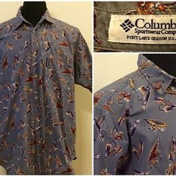 Columbia Fly Fishing Fish Lure Button Down Outdoor Mens Size Large Shirt Cotton
