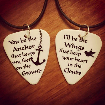Anchor Necklaces set Wings heart clouds guitar pick matching couple love birds girl guy Valentine's Day Anniversary Gift black silhouette