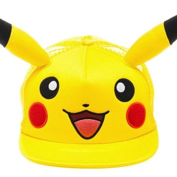 Pokemon - Pikachu Big Face W/Ears Hat Size ONE SIZE