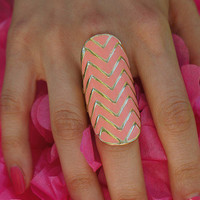 Coral Chevron RIng | Pretty EDGY