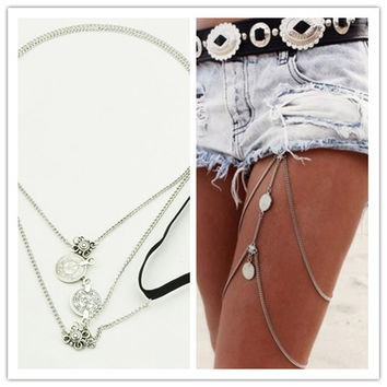 Leg Thigh Chain Link Wrap Summer Attire Accessory