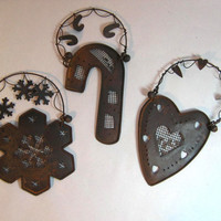 Group of Rusty Ornaments 3 Dimensional Snowflake, Candy Cane, and Heart