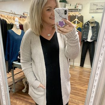 Cable Knit Cardigan in Oatmeal