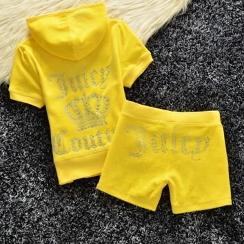 """Juicy  couture""Fashion Velvet tracksuit pants with short sleeves hot drill head Yellow (9color)"
