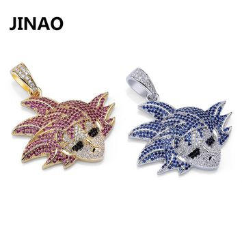 JINAO Hip Hop Jewelry Anime Dragon Ball Gokan Pendant Iced Out Chain Cubic Zircon Personalized Necklace for Male Christmas Gifts