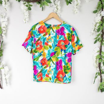 Vintage Colorful Boxy Floral Top