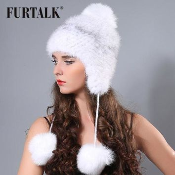 CREYONV FURTALK russian winter Knitted real mink fur hat with poms