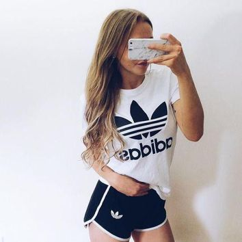 adidas women casual short sleeve top sport gym sweatpants set two piece sportswear-1