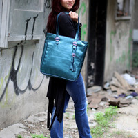 Teal leather tote, Shiny blue leather bag, Lambskin shoulder bag