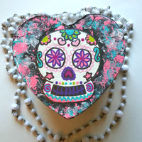 Sugar skull  heart shaped jewelry box for trendy girls room