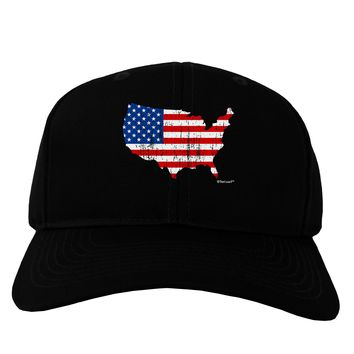 United States Cutout - American Flag Distressed Adult Dark Baseball Cap Hat by TooLoud