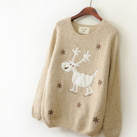 Khaki Snow Elk Loose Pullover Sweater