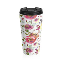 Watercolor Pink Rose Stainless Steel Travel Mug, Feminine Floral Coffee Mug, Coffee Mug for Women