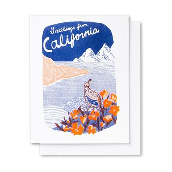 Greetings From California Quail Landscape Card