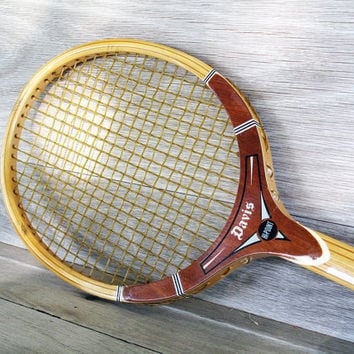 Vintage Davis HiPoint Tennis Racquet Brown TAD Wood by LetterKay
