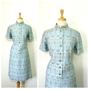 Vintage 1960s Dress L'Aiglon Pastel blue Floral Embroidered Shift Dress S