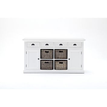 Halifax Buffet with 3 Basket set White semi-glosspaint with a smooth top coat
