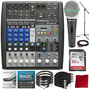 PreSonus StudioLive AR8 USB 8-Channel Hybrid Performance and Recording Mixer with 32GB, 4X Dynamic Microphone, Deluxe Pro Audio Recording Bundle